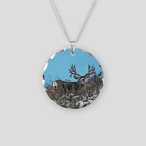 Trophy mule deer buck b Necklace Circle Charm