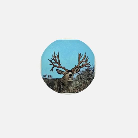 Trophy mule deer buck b Mini Button