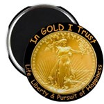 Gold Liberty w Motto on black Magnet
