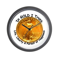 Gold Liberty Black Motto Wall Clock