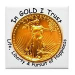 Gold Liberty Black Motto Tile Coaster