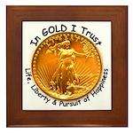 Gold Liberty Black Motto Framed Tile