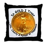 Gold Liberty Black Motto Throw Pillow