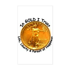 Gold Liberty Black Motto Rectangle Decal