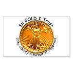 Gold Liberty Black Motto Rectangle Sticker