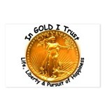 Gold Liberty Black Motto Postcards (Package of 8)