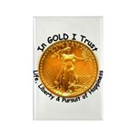 Gold Liberty Black Motto Rectangle Magnet