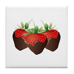 Chocolate Strawberry Tile Coaster