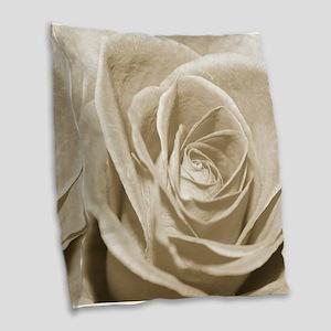 Sepia Rose Burlap Throw Pillow