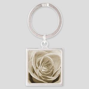 Sepia Rose Square Keychain