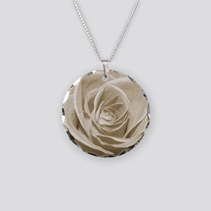 Sepia Rose Necklace Circle Charm