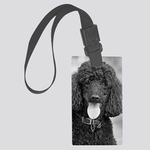 Black Poodle Large Luggage Tag