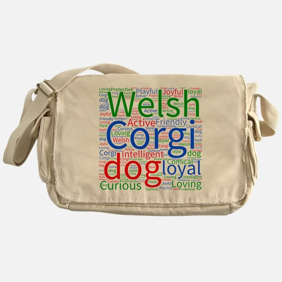 Corgi Word Cloud Messenger Bag