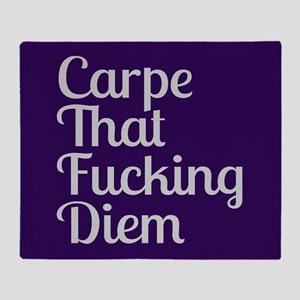 Carpe That Fucking Diem - Purple Throw Blanket