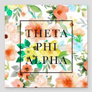 "Theta Phi Alpha Floral F Square Car Magnet 3"" x 3"""