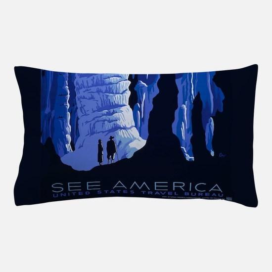 Caving Travel Cavern Vintage Travel Poster Pillow