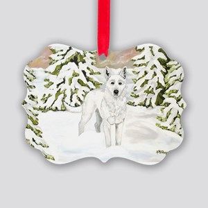 White Dog Wolf Winter Holiday Picture Ornament