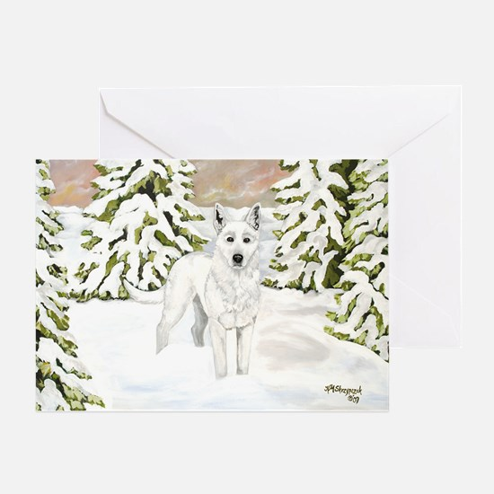 White Dog Wolf Holiday Design Greeting Cards