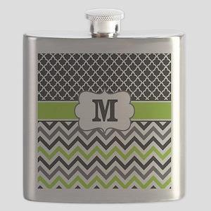 Black Lime Green Chevron Monogram Flask