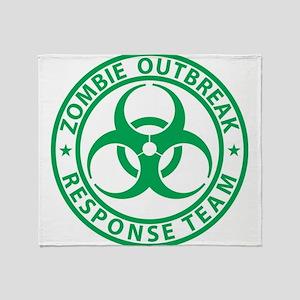 Zombie OutBreak Resonse Team Green Throw Blanket