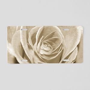 Sepia Rose Aluminum License Plate