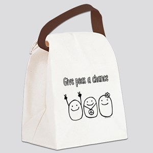 """Give peas a chance"" Canvas Lunch Bag"