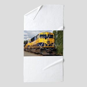 Alaska Railroad engine locomotive Beach Towel