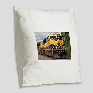 Alaska Railroad engine locomot Burlap Throw Pillow
