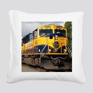 Alaska Railroad engine locomo Square Canvas Pillow
