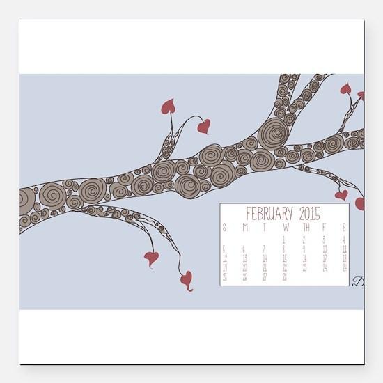 February 2015 Heart Leaves Tree Calendar Square Ca
