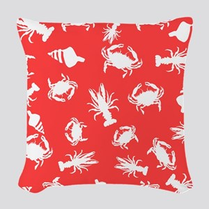 Bayou White and Coral Woven Throw Pillow