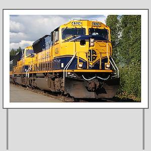 Alaska Railroad engine locomotive Yard Sign