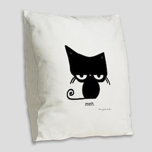 meh cat Burlap Throw Pillow