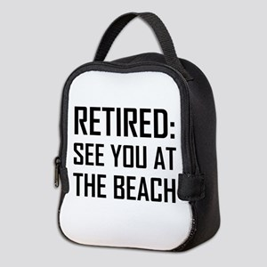 Retired See You At Beach Neoprene Lunch Bag
