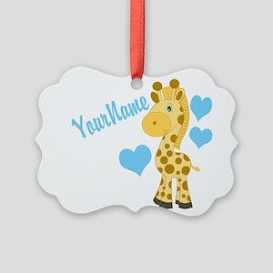 Personalizable Blue Baby Giraffe Ornament
