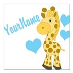 Personalizable Blue Baby Giraffe Square Car Magnet