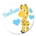 Personalizable Blue Baby Giraffe Round Car Magnet