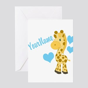 Personalizable Blue Baby Giraffe Greeting Cards