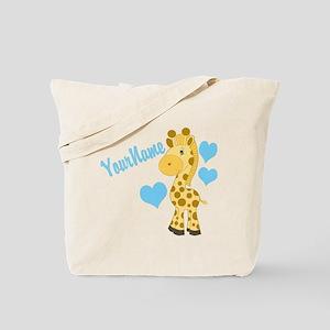 Personalizable Blue Baby Giraffe Tote Bag