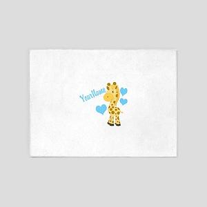 Personalizable Blue Baby Giraffe 5'x7'Area Rug