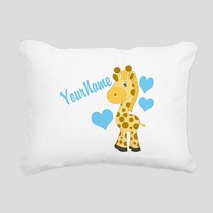 Personalizable Blue Baby Giraffe Rectangular Canva