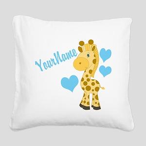 Personalizable Blue Baby Giraffe Square Canvas Pil