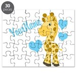 Personalizable Blue Baby Giraffe Puzzle
