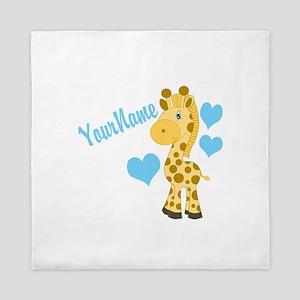 Personalizable Blue Baby Giraffe Queen Duvet