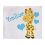 Personalizable Blue Baby Giraffe Throw Blanket