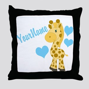 Personalizable Blue Baby Giraffe Throw Pillow