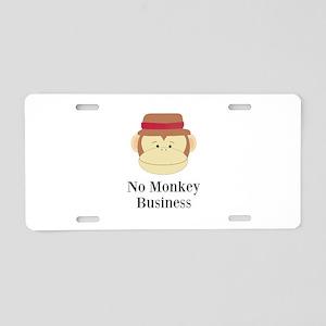 No Monkey Business Aluminum License Plate