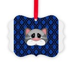 Gray Cat on Blue Ornament