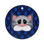 Gray Cat on Blue Ornament (Round)