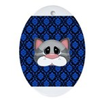 Gray Cat on Blue Ornament (Oval)